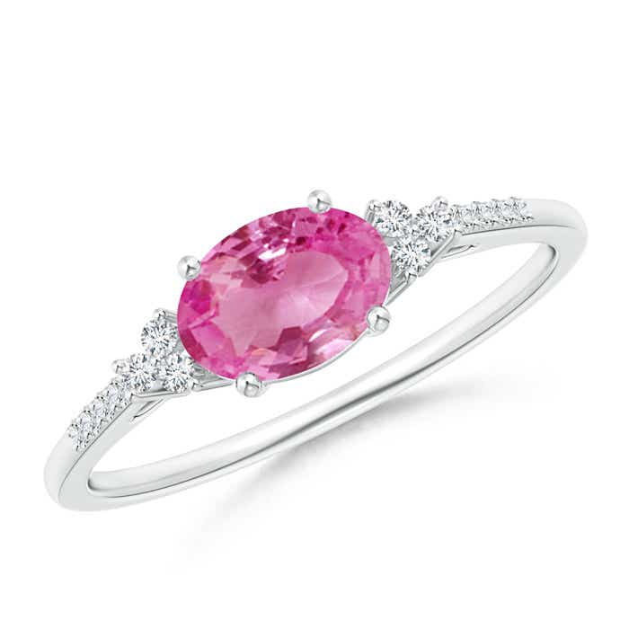 Angara Trio Diamonds and Oval Pink Sapphire Cocktail Ring in Yellow Gold 9yrMVV