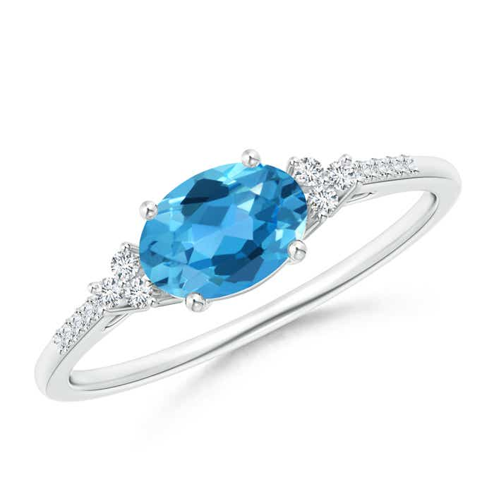 Angara East West Oval London Blue Topaz Ring with Diamonds wNQ4gCwPJb