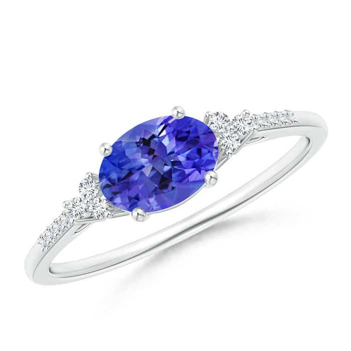 Angara Trio Stone Sapphire Diamond Halo Engagement Ring in Yellow Gold 7b4Qo1j