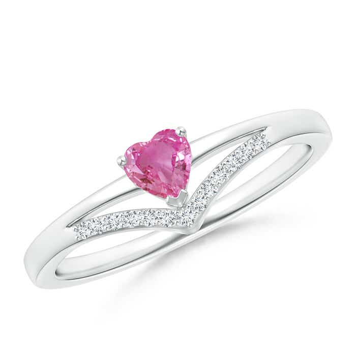 Angara Heart Pink Sapphire Ring in Rose Gold a3M61