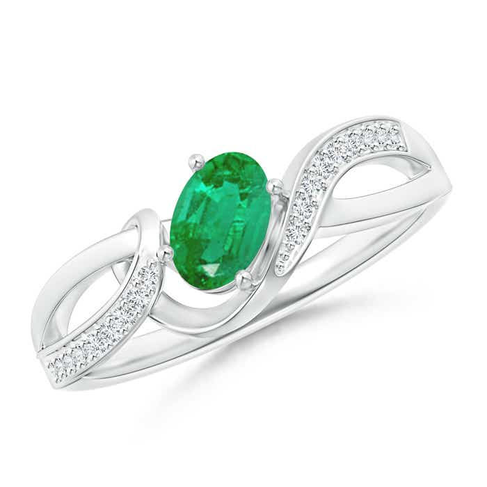 Angara Solitaire Oval Emerald Ring with Trio Diamond Accents in Yellow Gold 22BWeY0Xpu