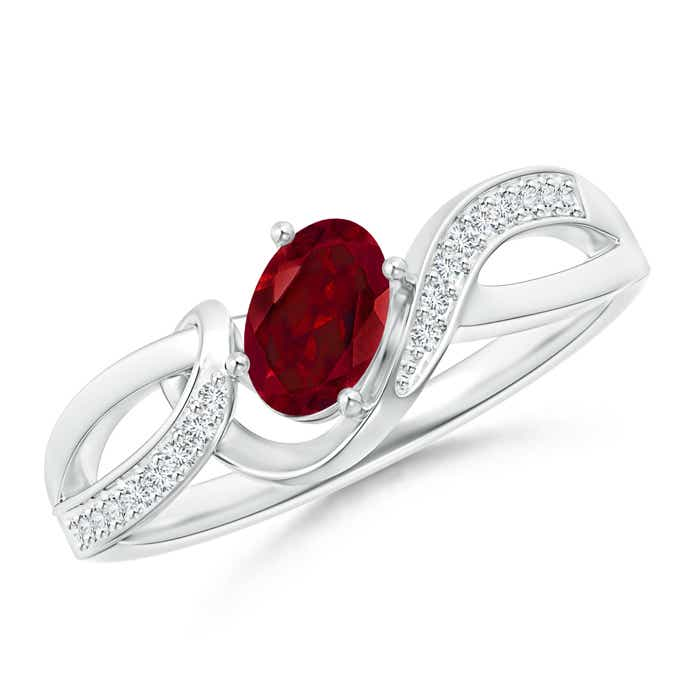Angara Solitaire Oval Garnet Ring with Trio Diamond Accents 3y0xwn