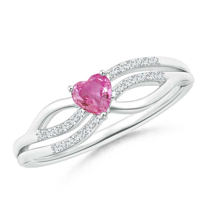 Angara Solitaire Round Pink Sapphire Promise Ring with Diamond in Rose Gold