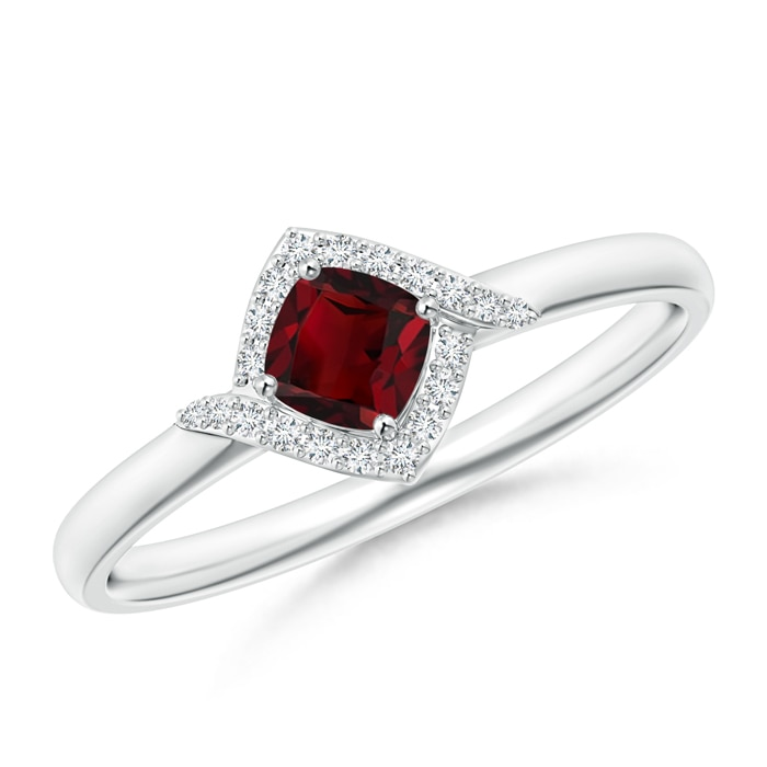 Angara Garnet Ring with Diamond Halo in Platinum JP2v3
