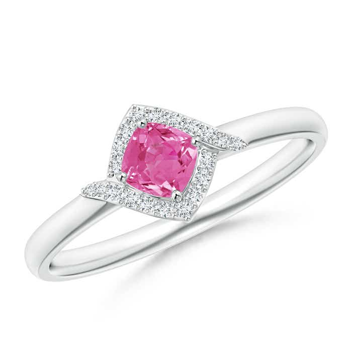 Angara Cushion Pink Tourmaline and Diamond Ring in Yellow Gold YPoR2r