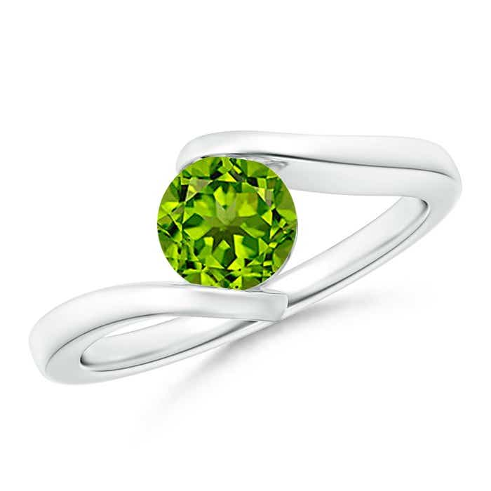 Angara Classic Round Peridot Solitaire Ring in 14k Rose Gold ZM5dD77