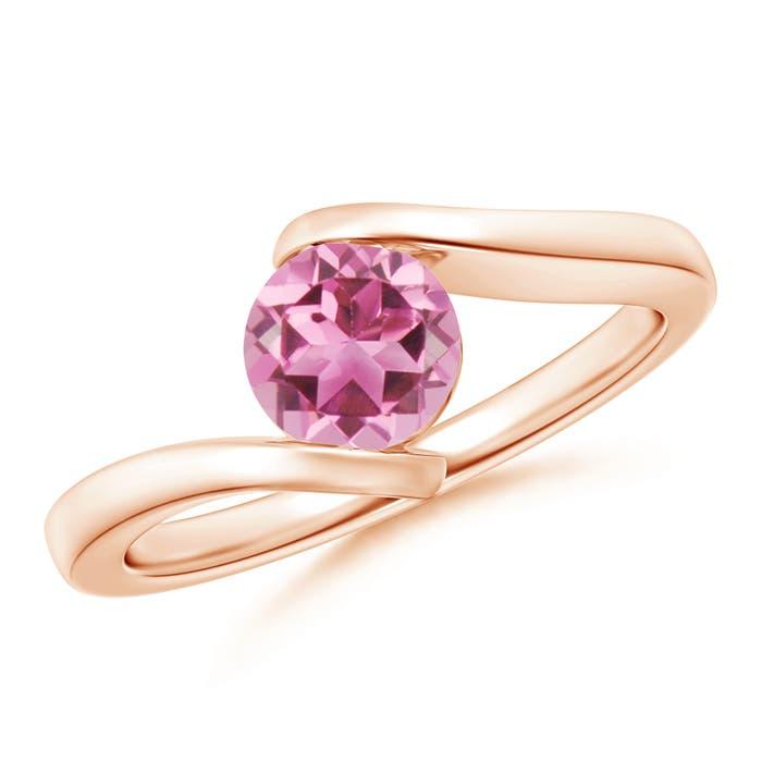Angara Bar-Set Solitaire Round Pink Tourmaline Bypass Ring 2enlP2rE
