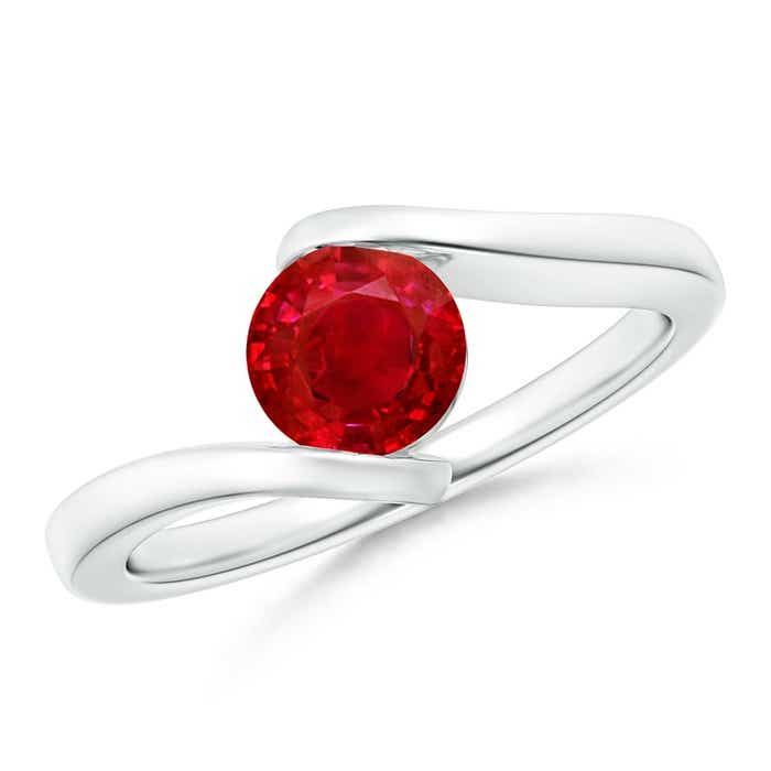 Angara Bar-Set Solitaire Round Ruby Bypass Ring QpZ8hI