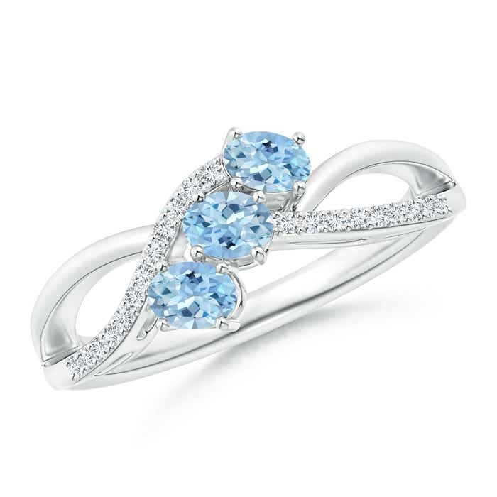 Angara Oval Aquamarine Solitaire Ring with Pave Diamonds