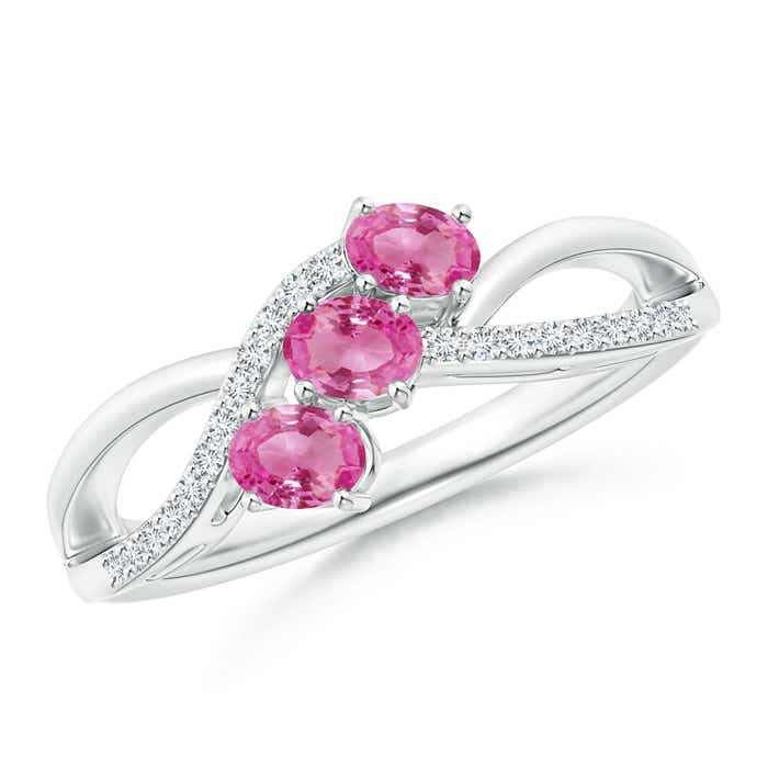 Angara Three Stone Pink Tourmaline and Diamond Engagement Ring in Platinum FmUKL