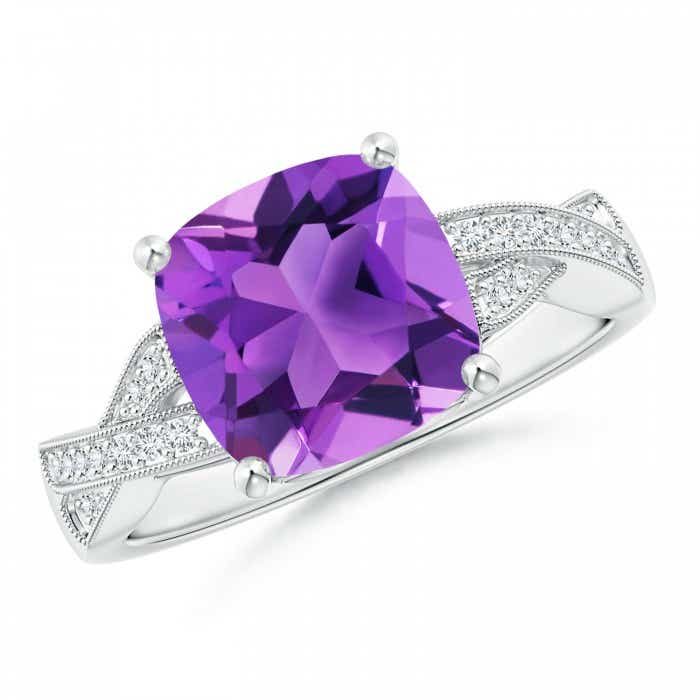 Angara Cushion Amethyst and Diamond Ring in Yellow Gold