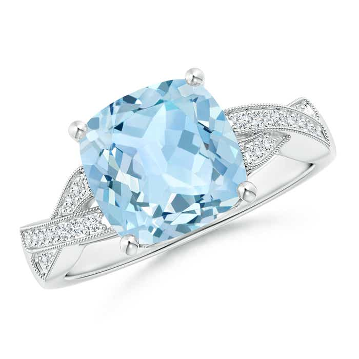 Angara Cushion Aquamarine Solitaire Ring in Yellow Gold gxSirS95