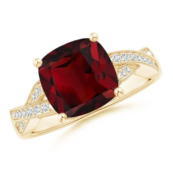 Angara Solitaire Garnet Vintage Ring in Platinum