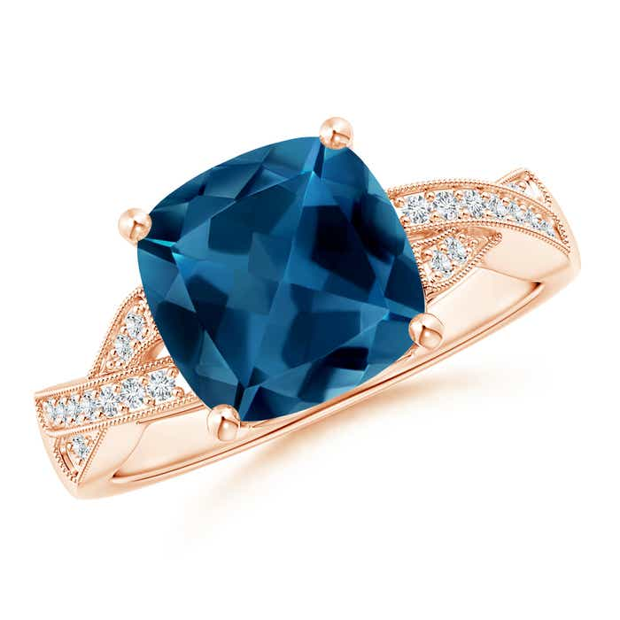 Angara Cushion London Blue Topaz Crossover Ring with Diamond Halo DSf5SXv