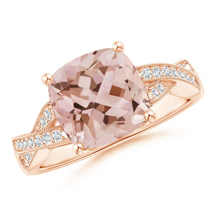 Angara Morganite Ring - Morganite and Diamond Criss Cross Halo Ring 4VXwcjjtjP