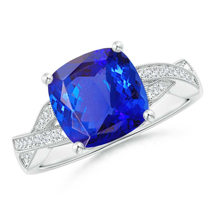 Angara Solitaire Cushion Tanzanite Criss Cross Ring in 14K White Gold 9LyTqrxy