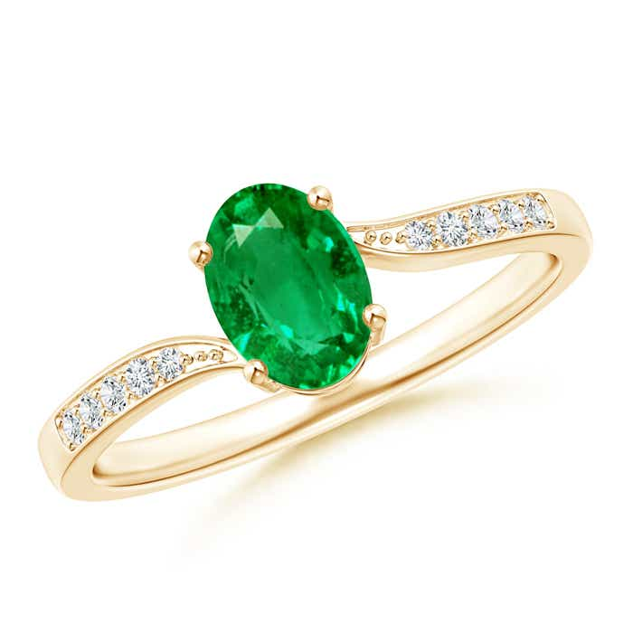 Angara Solitaire Oval Emerald Bypass Ring in 14K Rose Gold hbbIc1yh