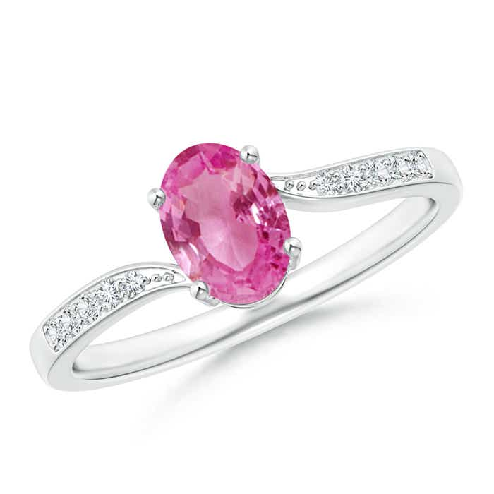 Angara Oval Pink Tourmaline Bypass Ring in 14K White Gold h2SUR