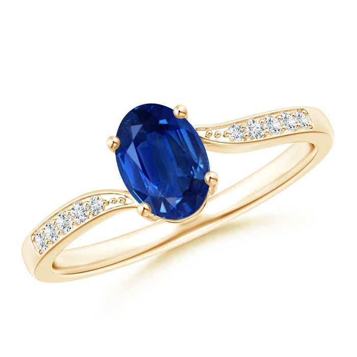 Angara Solitaire Oval Sapphire Bypass Ring in 14K Yellow Gold