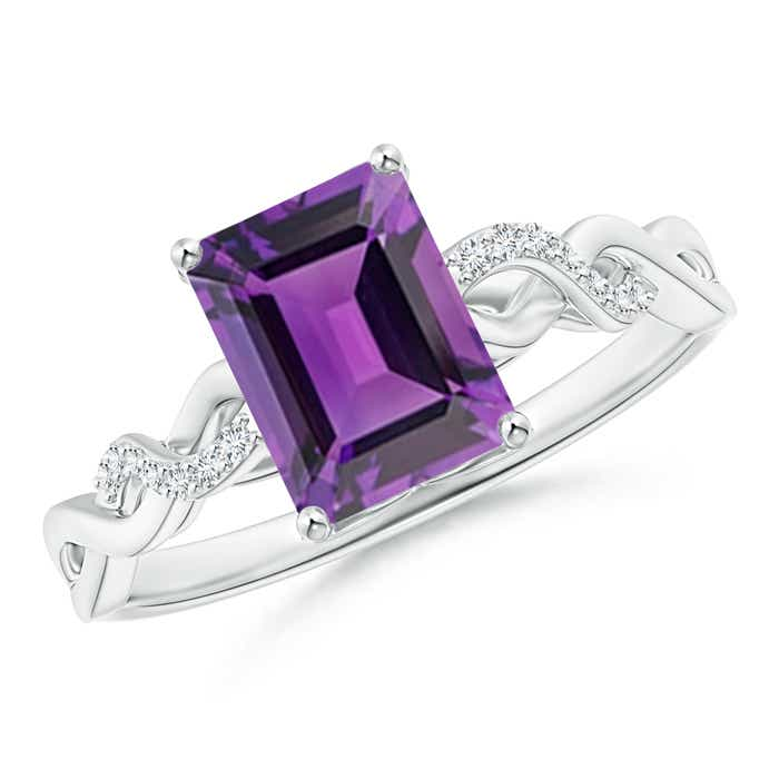 Angara Emerald-Cut Amethyst Cocktail Ring in Rose Gold xmsDaNIk