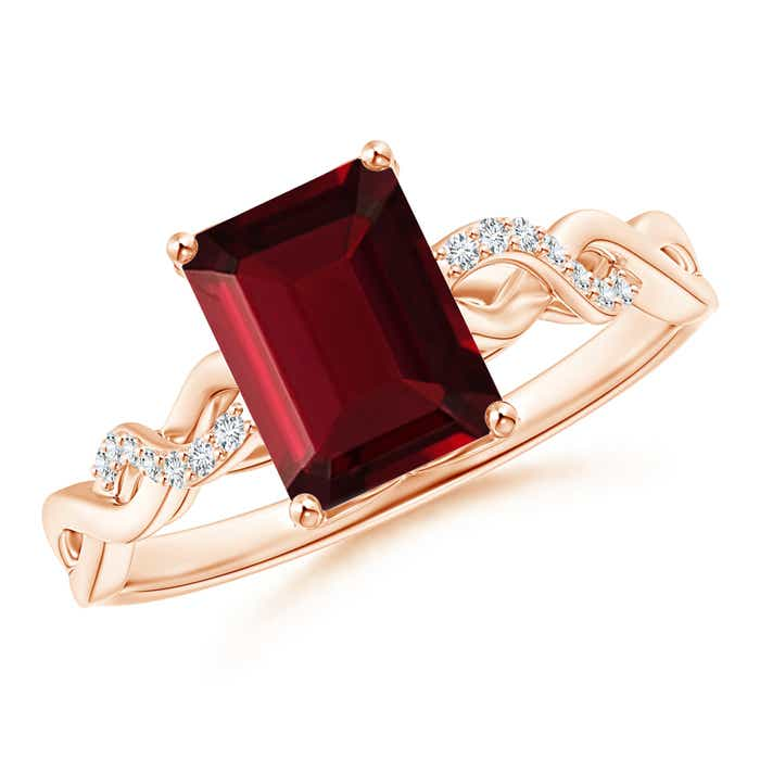 Angara Solitaire Emerald-Cut Garnet Infinity Twist Ring with Diamond