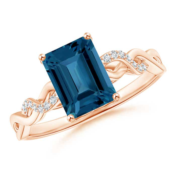 Angara Emerald-Cut London Blue Topaz Cocktail Ring with Diamond Accents NVT7Zs