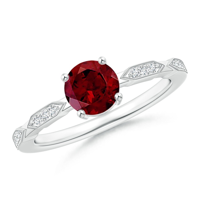 Angara Classic Round Garnet Solitaire Ring in Rose Gold