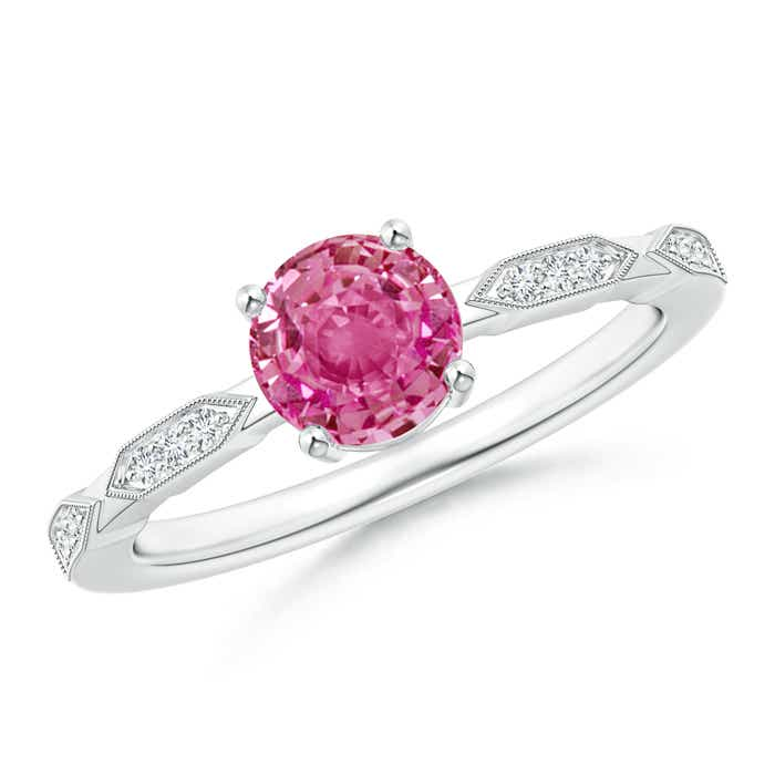 Angara Pink Sapphire Solitaire Ring with Diamond in White Gold 1nx39lT