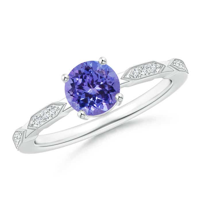Angara Tanzanite Solitaire Ring with Diamond in Rose Gold