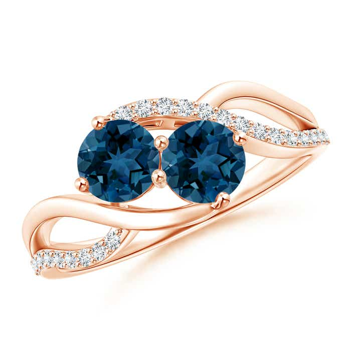 Angara Two Stone Round Tanzanite Bypass Ring with Diamond in Rose Gold y5C143UL7