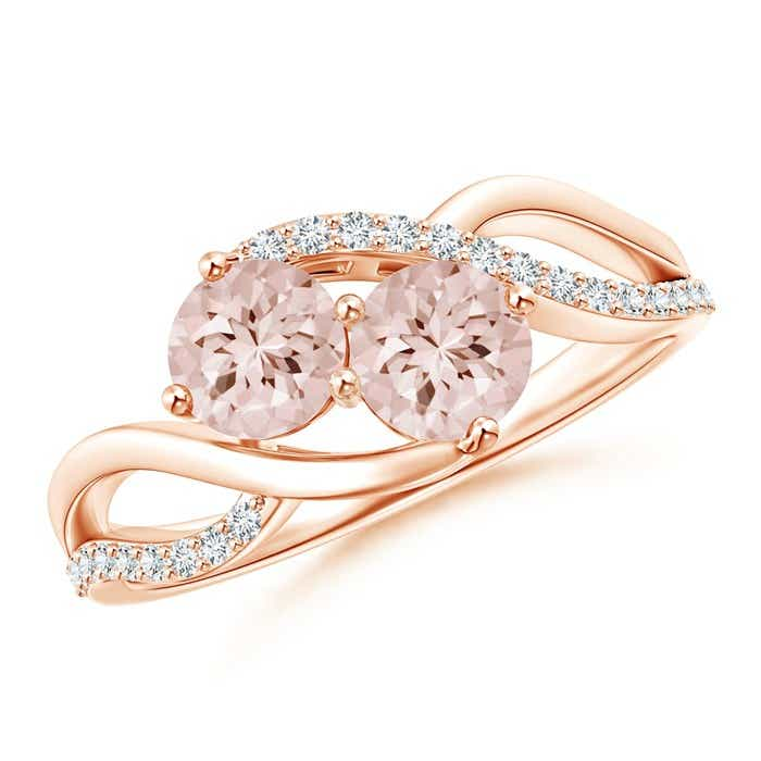 Angara Prong Set Morganite Bypass Ring with Diamond Accents D4YKdhI2