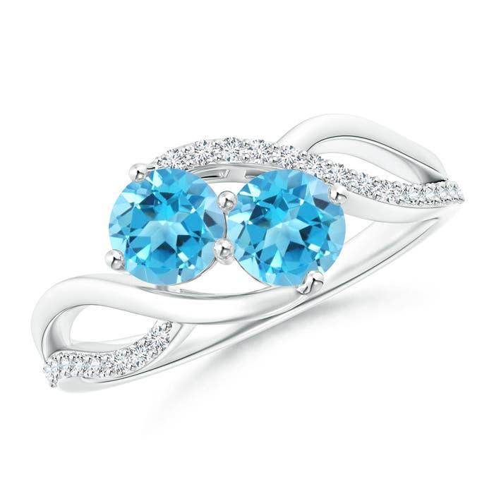 Angara Round Swiss Blue Topaz Two Stone Bypass Ring with Diamonds 46waJv