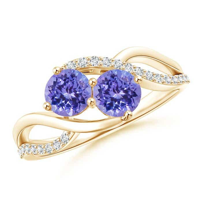 Angara Two Stone Tanzanite Bypass Ring in Yellow Gold 5MA1JS52