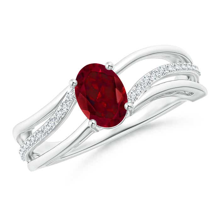 Angara Solitaire Oval Garnet Ring with Trio Diamond Accents oCihQNa