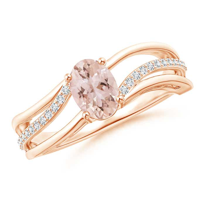 Angara Solitaire Oval Morganite Ring with Trio Diamond Accents