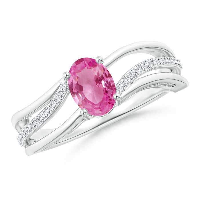 Angara Solitaire Oval Pink Sapphire Bypass Ring in 14K Yellow Gold oQR7rAKMn