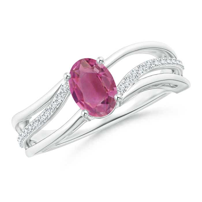 Angara Oval Pink Tourmaline Three Stone Bypass Ring in 14K Yellow Gold Ycnlrl