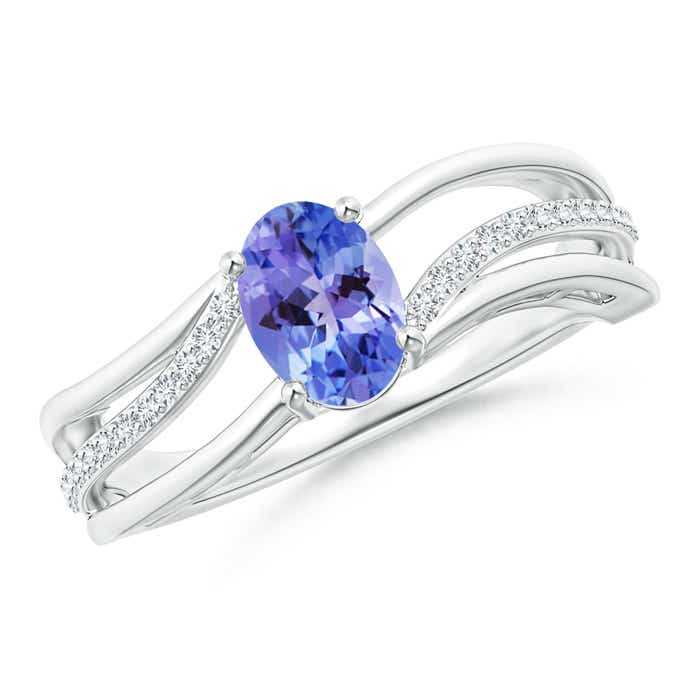 Angara Oval Tanzanite Bypass Ring with Trio Diamond Accents in 14K White Gold 8OBXsoMNEo