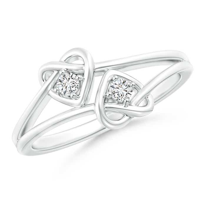 Angara Two Stone Diamond Twin Heart Knot Ring GpGX3n