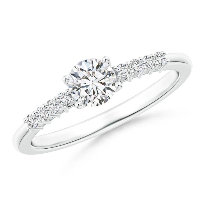 Angara Three Stone Round Diamond Engagement Ring with Heart-Motifs vZdydtBc0