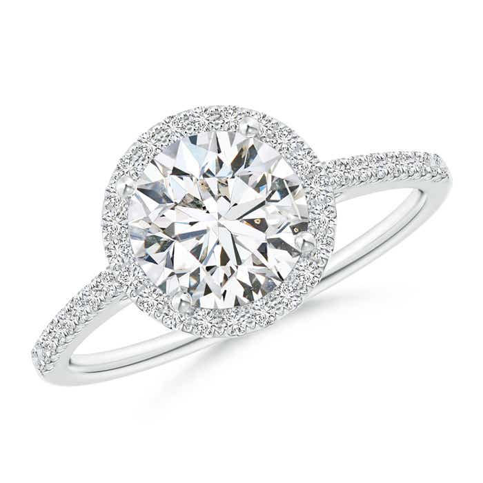 Angara 4 Prong Round Moissanite Ring in Platinum ZCmnCb