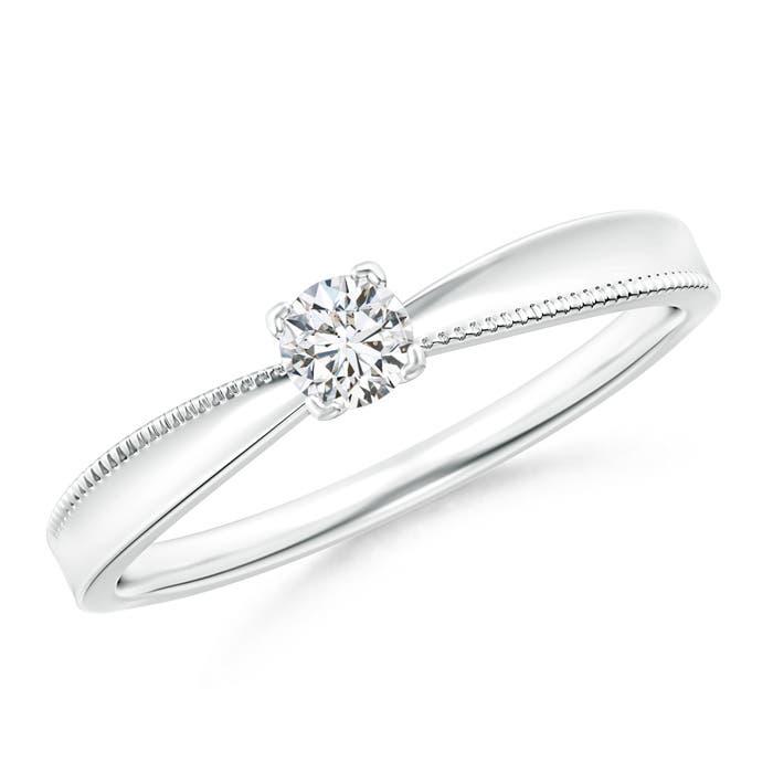 Angara Round Diamond Solitaire Engagement Ring in Platinum ai19R1