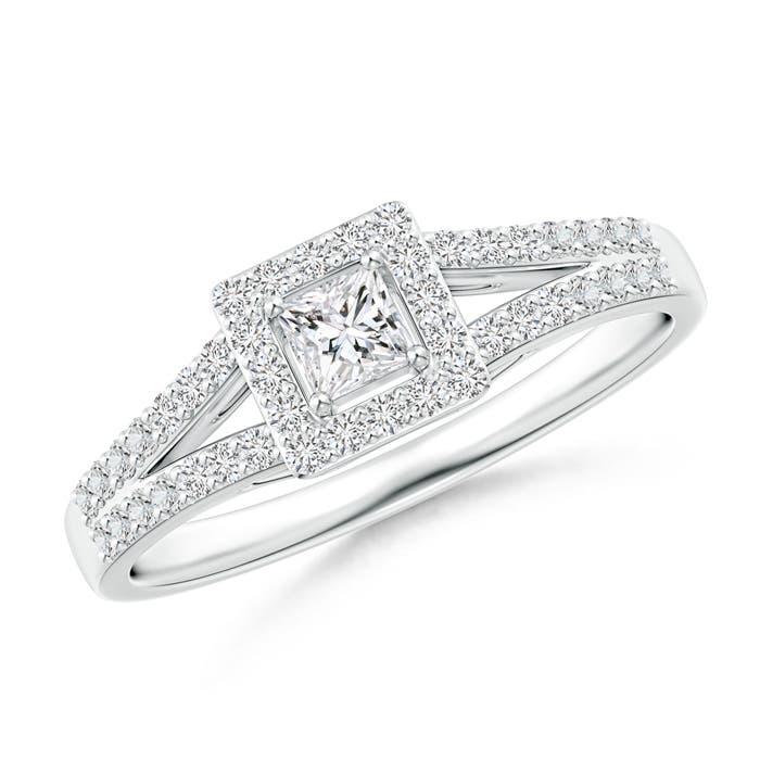 Angara Classic Princess-Cut Diamond Halo Engagement Ring PQCjBHesk