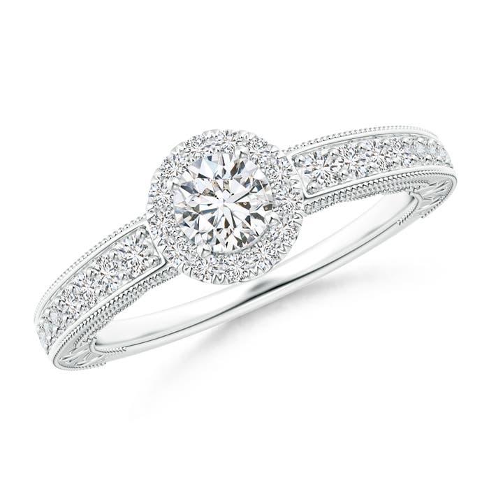 Angara Milgrain Laced Diamond Vintage Halo Engagement Ring XqocAMD