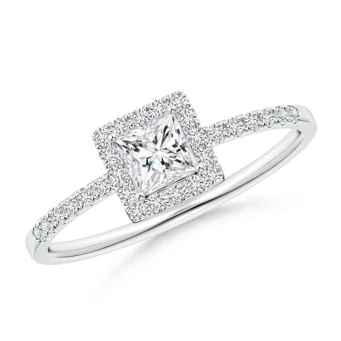 Angara Classic Princess-Cut Diamond Halo Engagement Ring HGP0Uxs