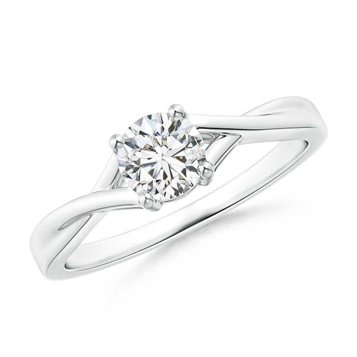 Angara Woven Split Diamond Solitaire Engagement Ring
