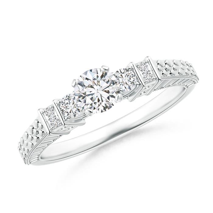 Angara Embossed Pattern Diamond Three Stone Engagement Ring pYphA