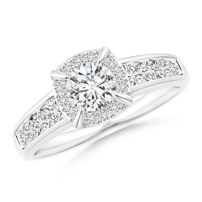Angara Circle Diamond Ring with Diamond Shoulders