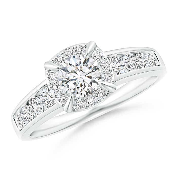 Angara Solitaire Round Diamond Wedding Ring Set with Plain Band in Platinum aIobk