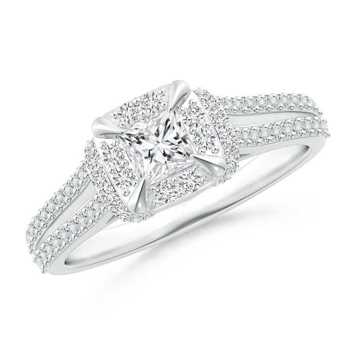 Angara Claw-Set Cushion Halo Diamond Engagement Ring nKYSQUTV